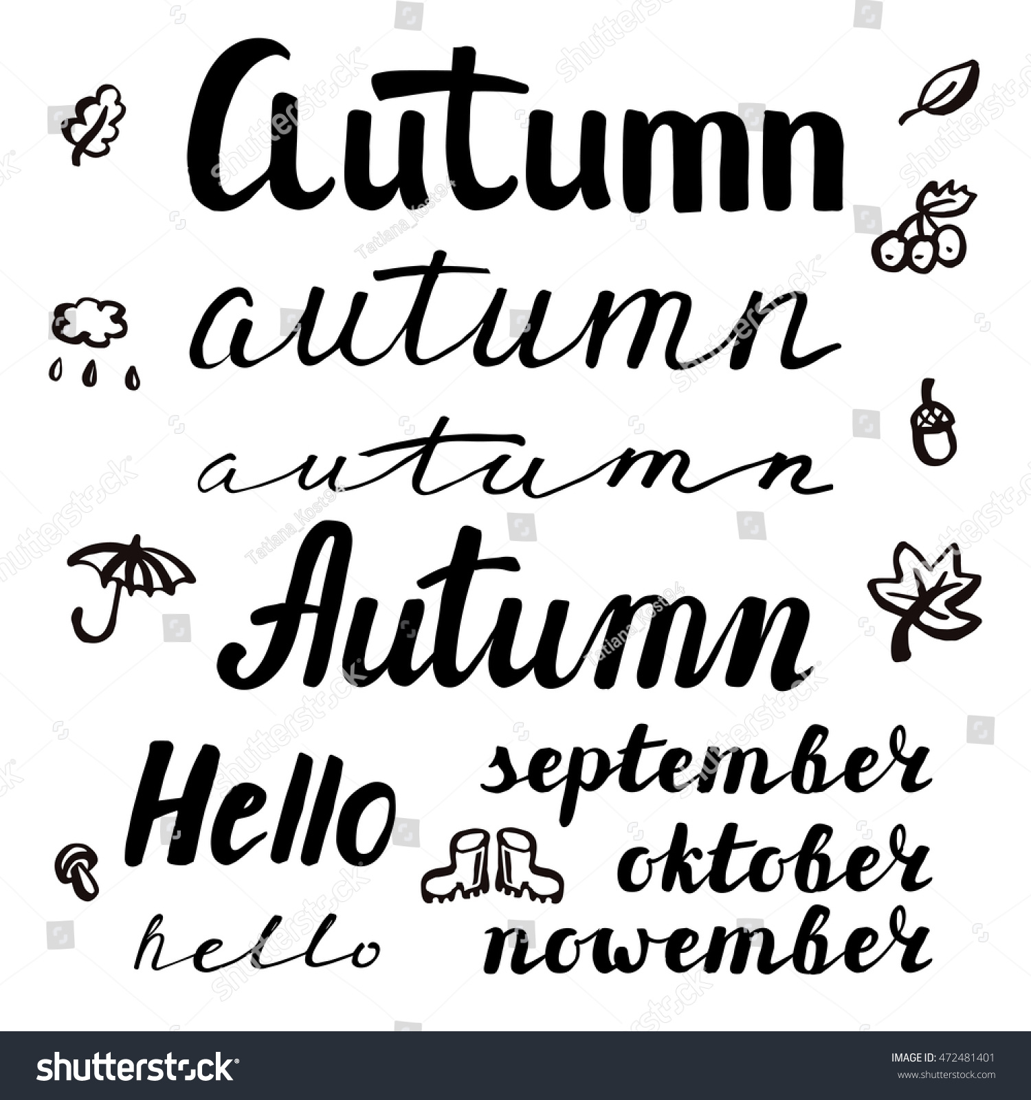 Words Of Inspiration Quotes Autumn Inspiration Quotes Lettering Vector Typography Stock Vector