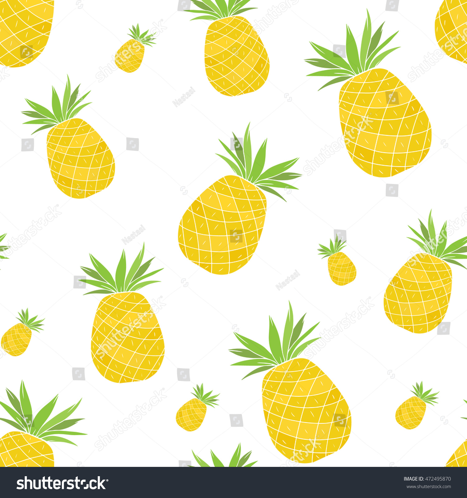 Pineapple Seamless Pattern White Background Kitchen Stock Vector ...