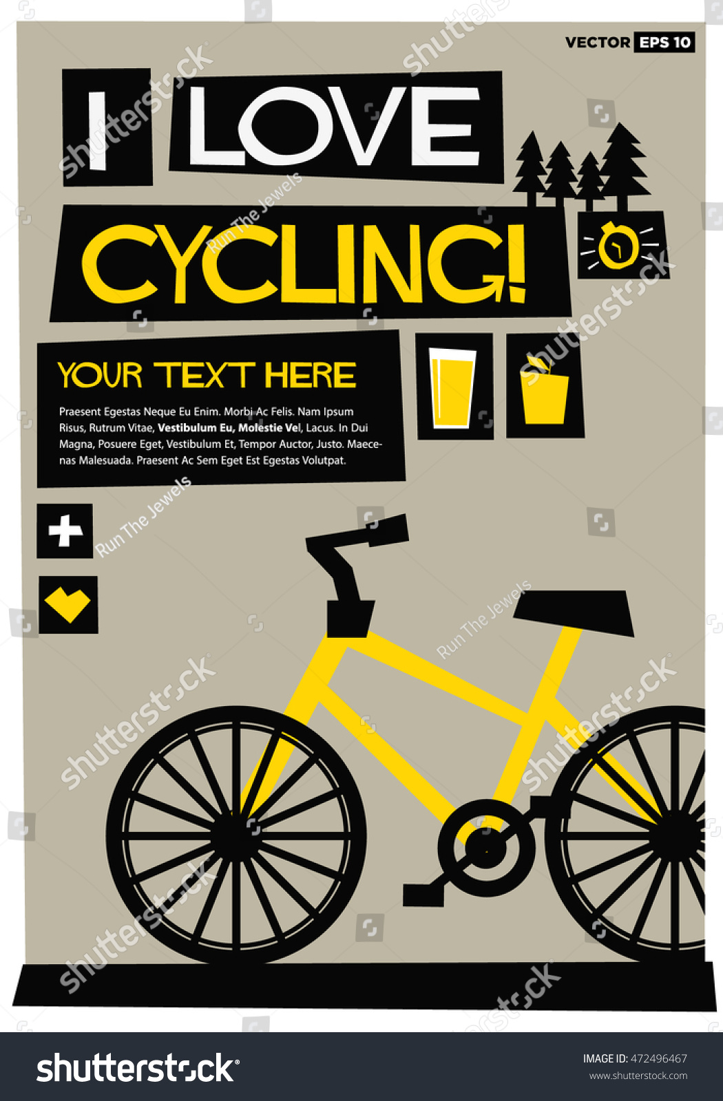 I Love Cycling Flat Style Vector Illustration Bike Quote Poster