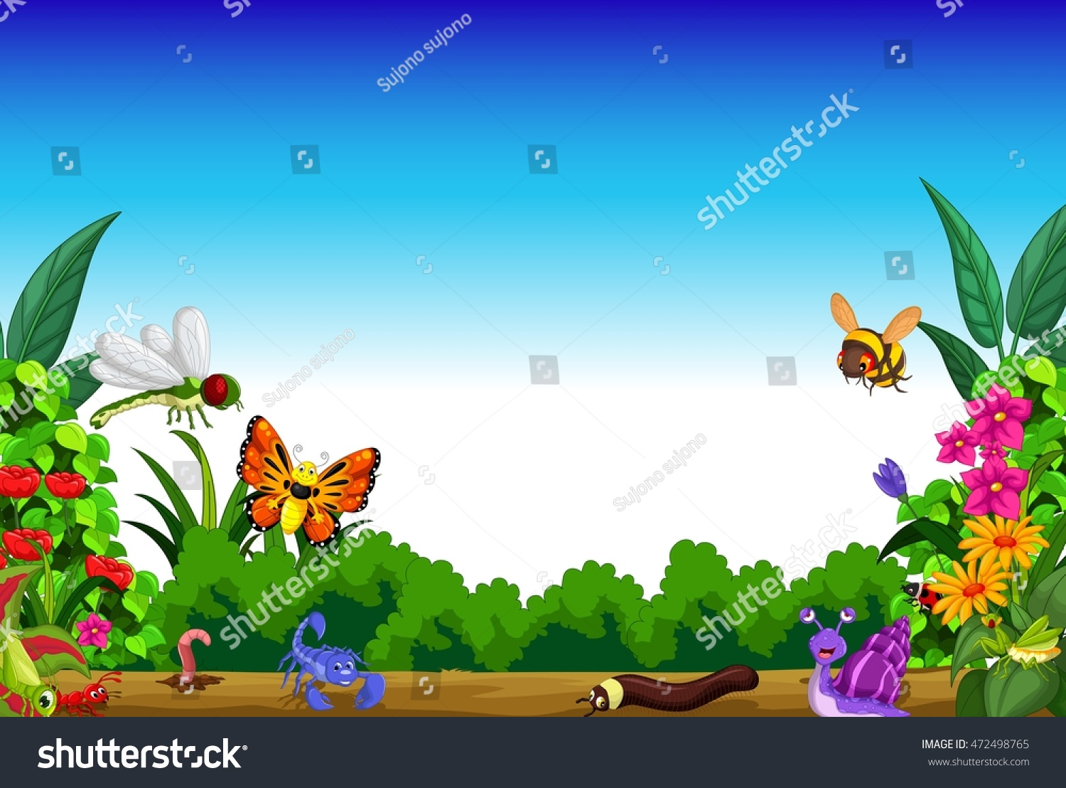 Flower garden cartoon - Collection Of Insects In The Flower Garden On Morning View