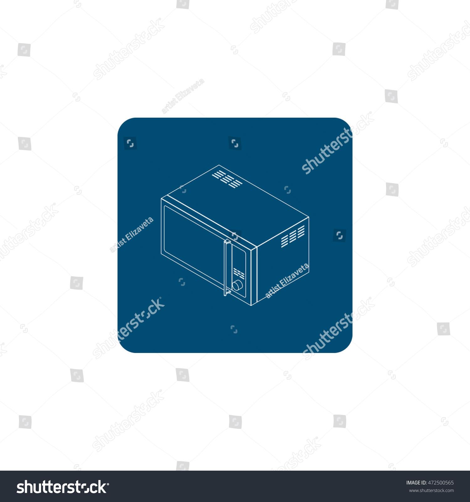 Microwave oven icon illustration on white background | EZ Canvas