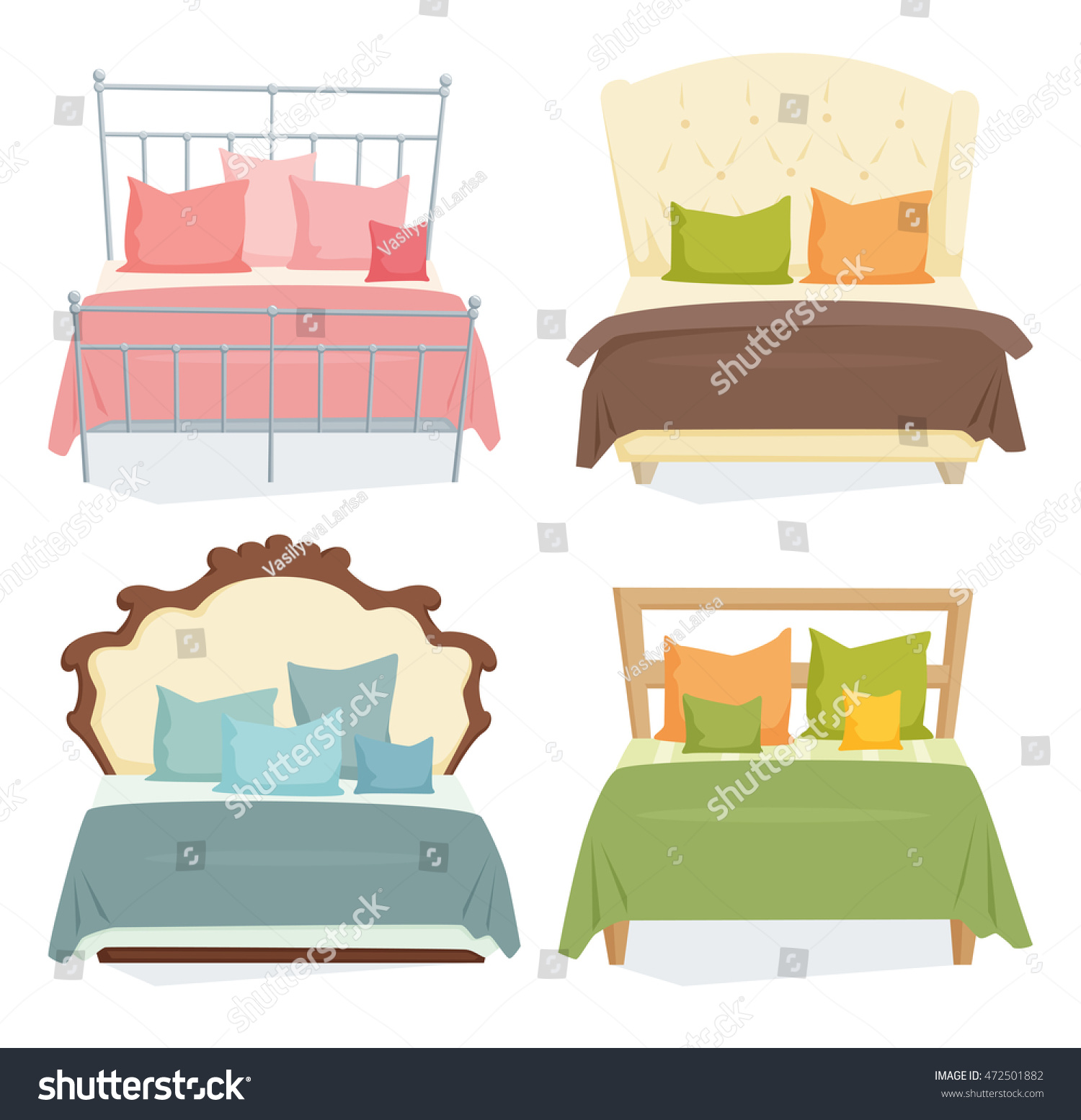 Bedroom Interior Design Set Furniture Vector ~ Double beds pillows set blanket modern stock vector