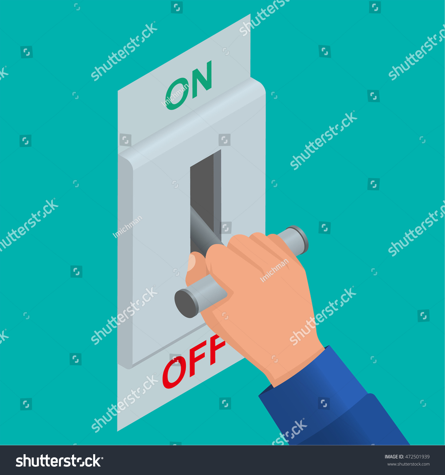 Isometric Icon Electric Knife Switch Off Stock Vector (Royalty Free ...