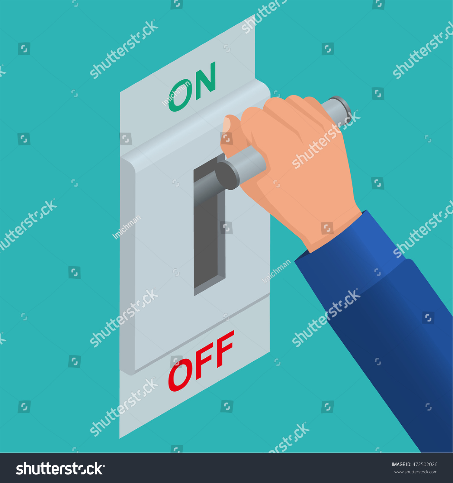 Isometric Icon Electric Knife Switch On Stock Vector (Royalty Free ...