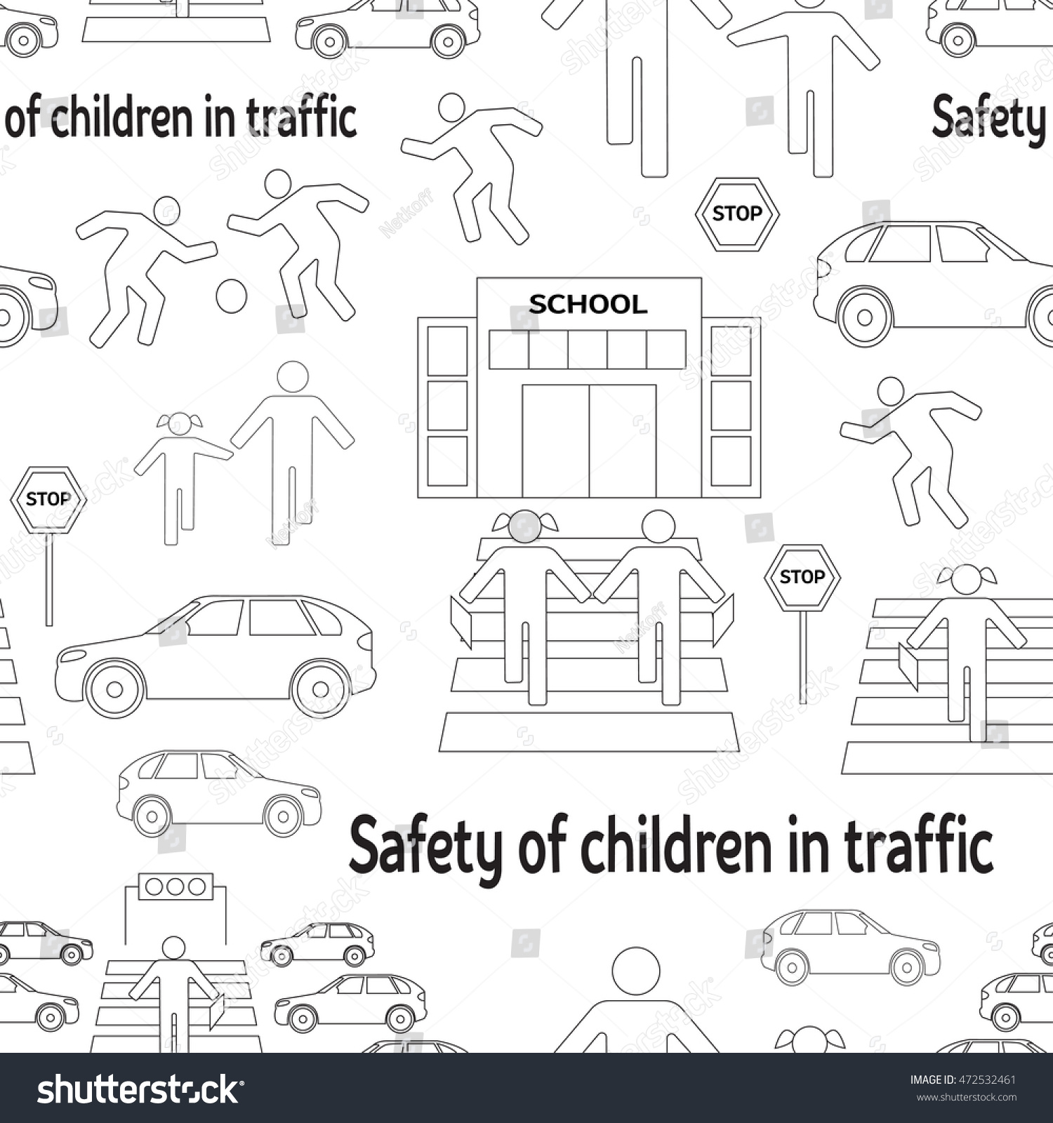 Safety Children Traffic Pattern Children Go Stock Illustration