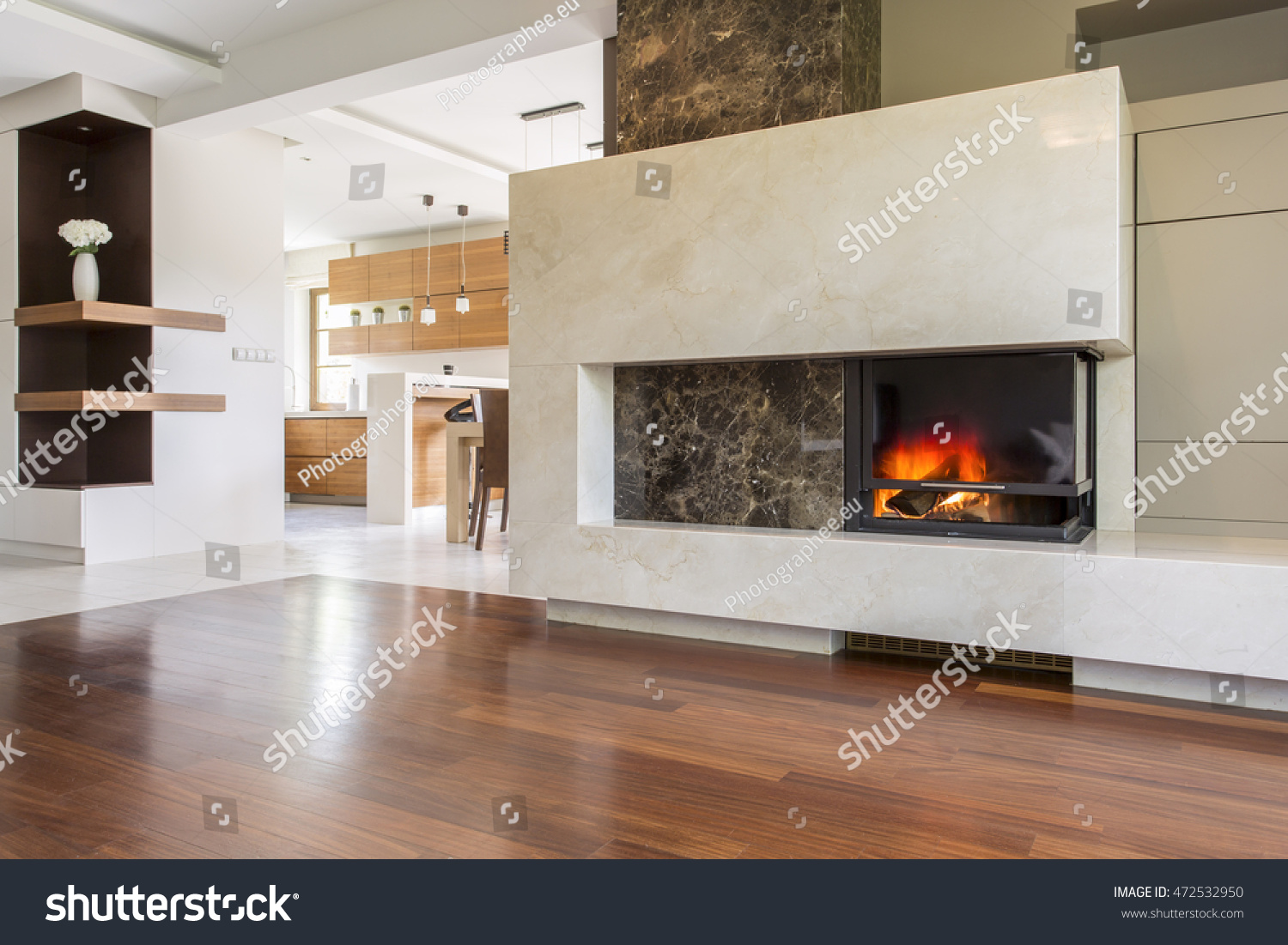 Marble Fireplace Vast Living Room Panelled Stock Photo Edit Now 472532950