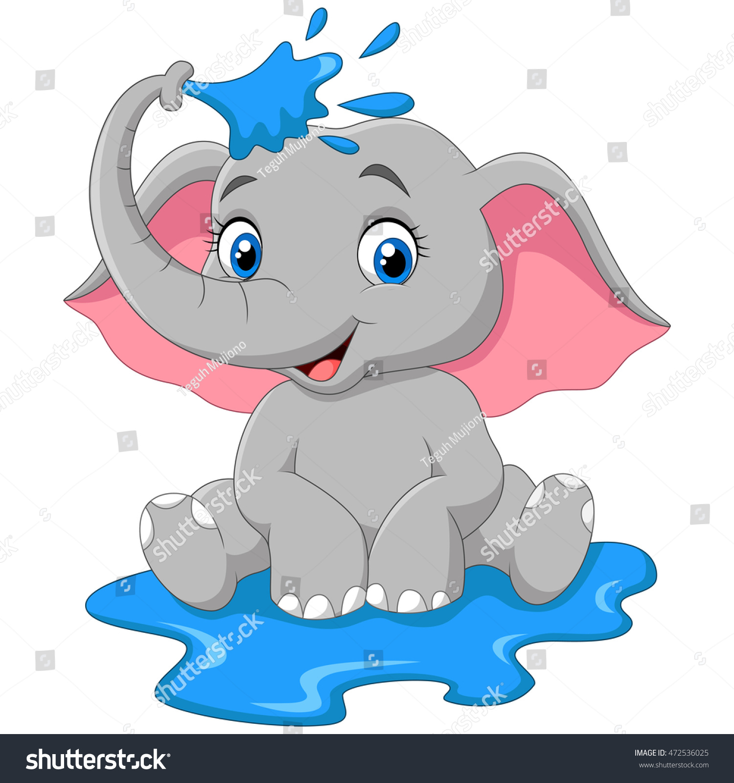 cartoon baby elephant spraying water stock vector 472536025