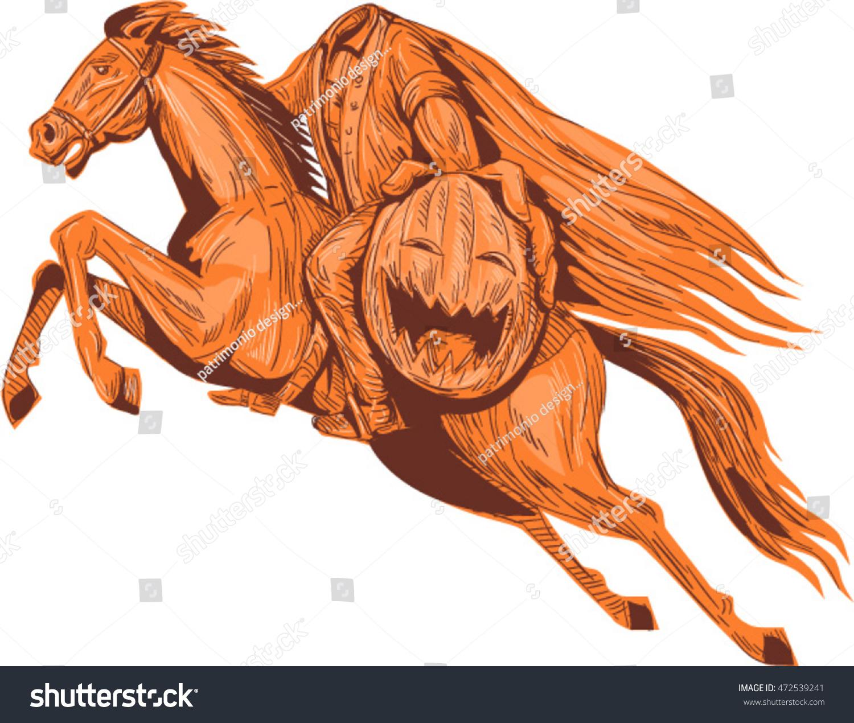 The Misadventures Of The Halloweenut The Hessian Rider: Drawing Sketch Style Illustration Headless Horseman Stock