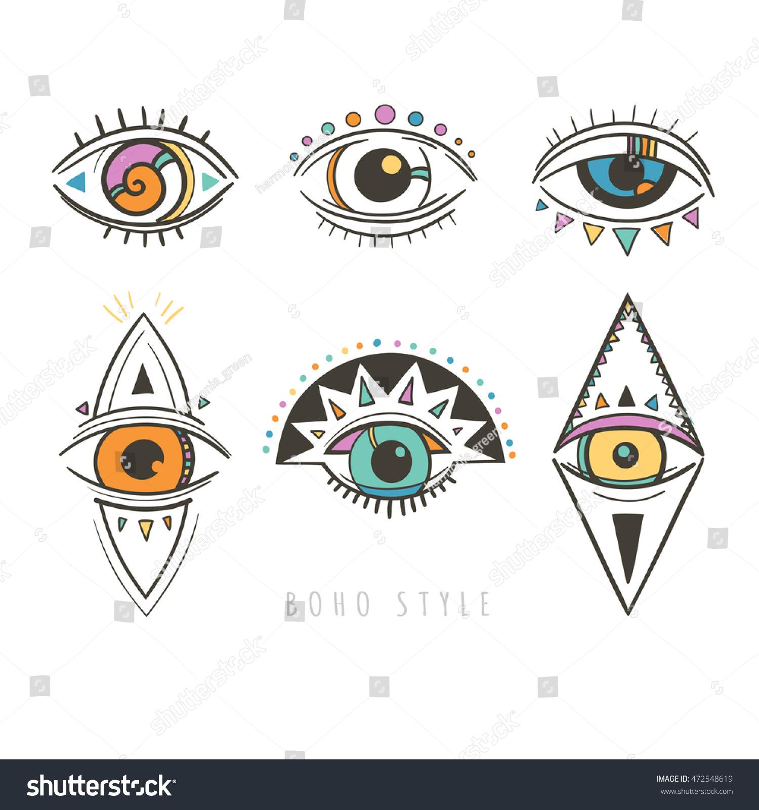 Royalty Free Hand Drawn Mystic Eyes Vector 472548619 Stock Photo