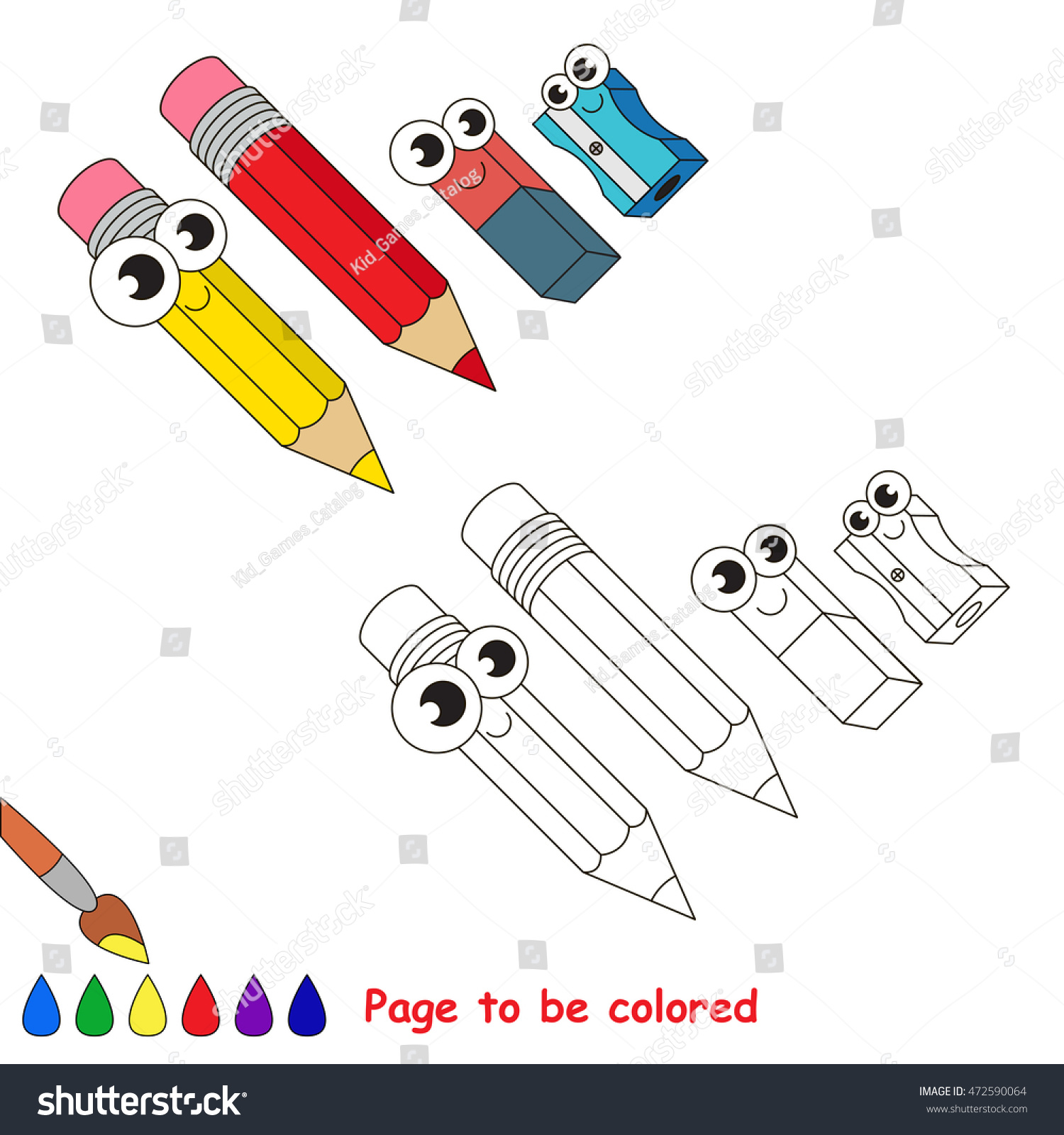 pencils eraser sharpener be colored coloring stock vector