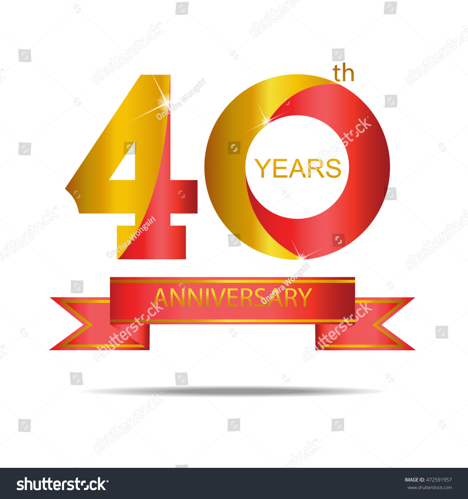 template logo 40th anniversary red gold stock vector royalty free