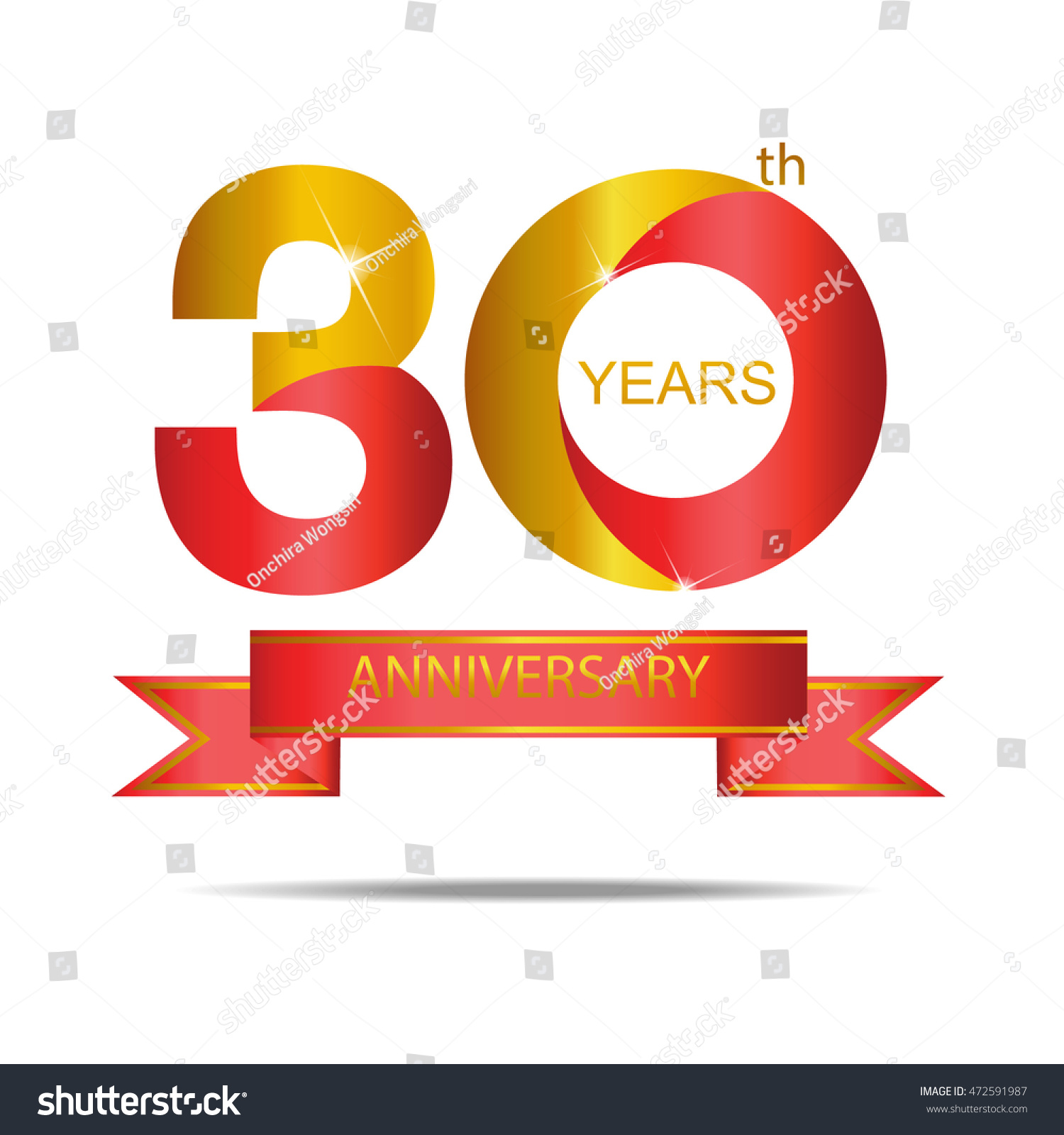 30 Year Anniversary Symbol: Template Logo 30th Anniversary Red Gold Stock Vector