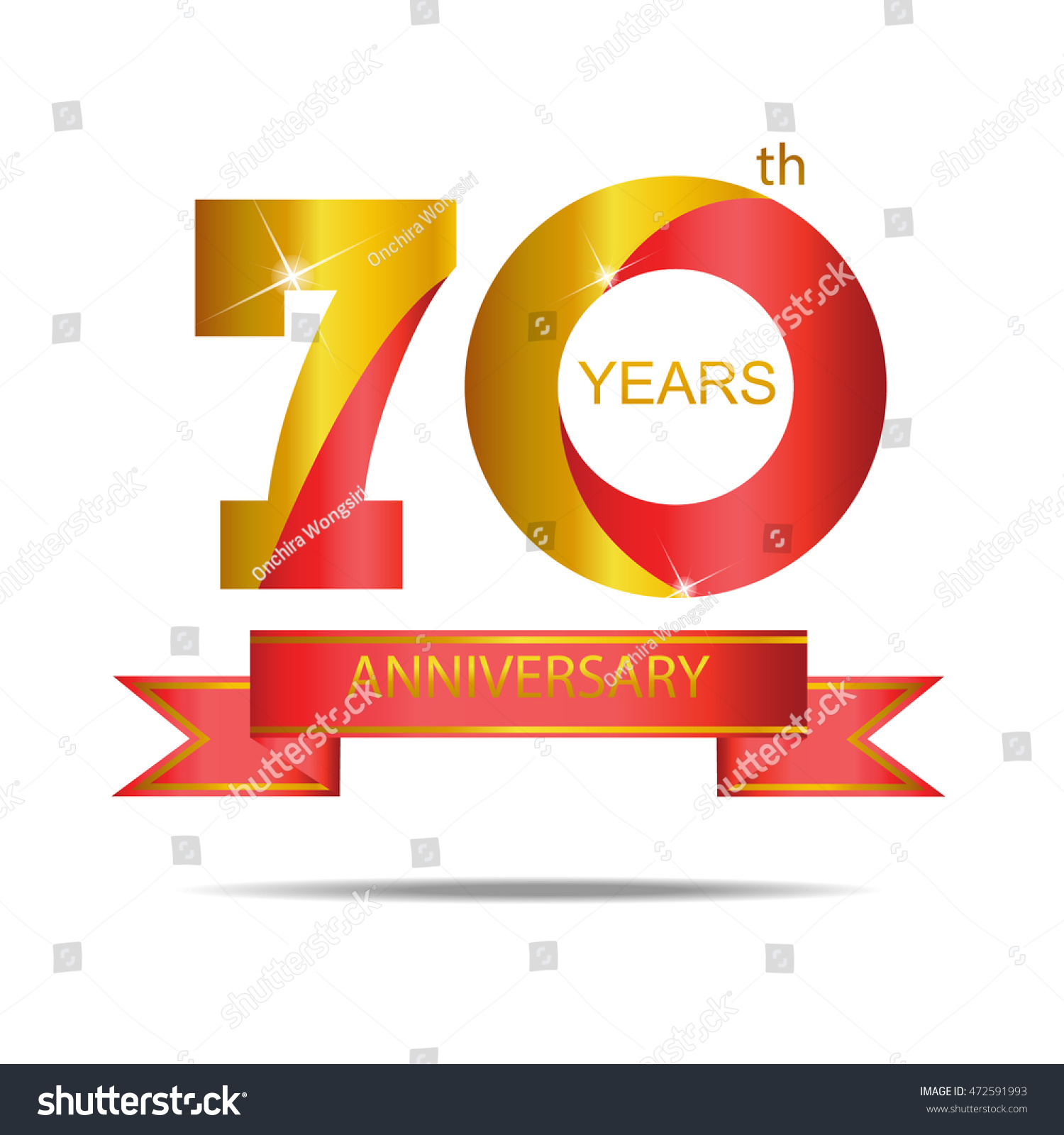 Template Logo 70th Anniversary Red Gold Stock Vector (2018 ...