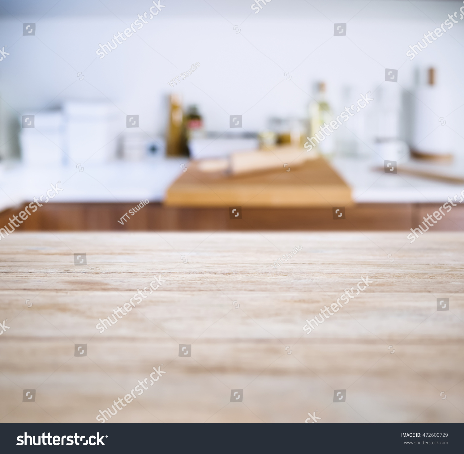Table Top With Blur Kitchen Pantry Baking Equipment Background
