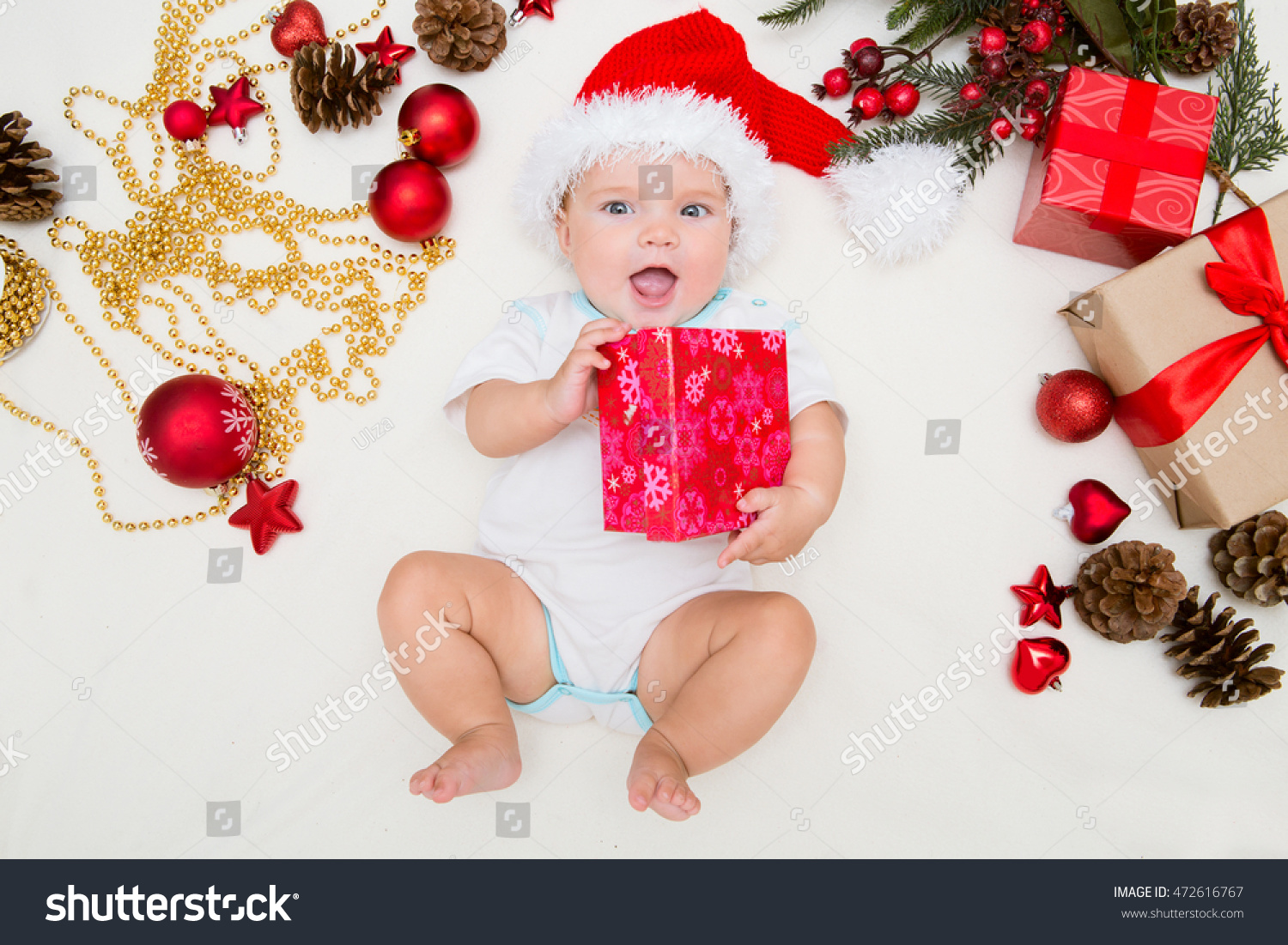 Baby first christmas. Beautiful little baby celebrates Christmas. New  Year s holidays. Baby with 28c58bf8884d