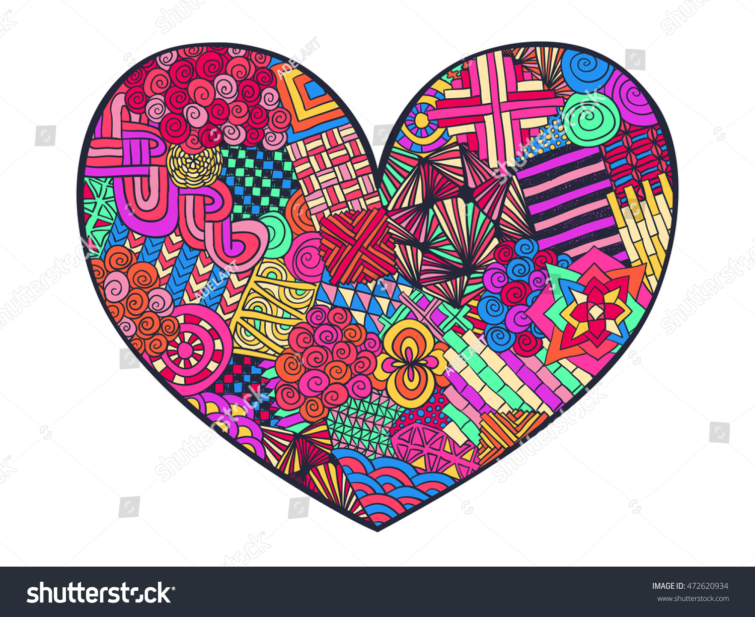 Heart Doodle Coloring Page Zentangle Abstract Stock Vector (2018 ...