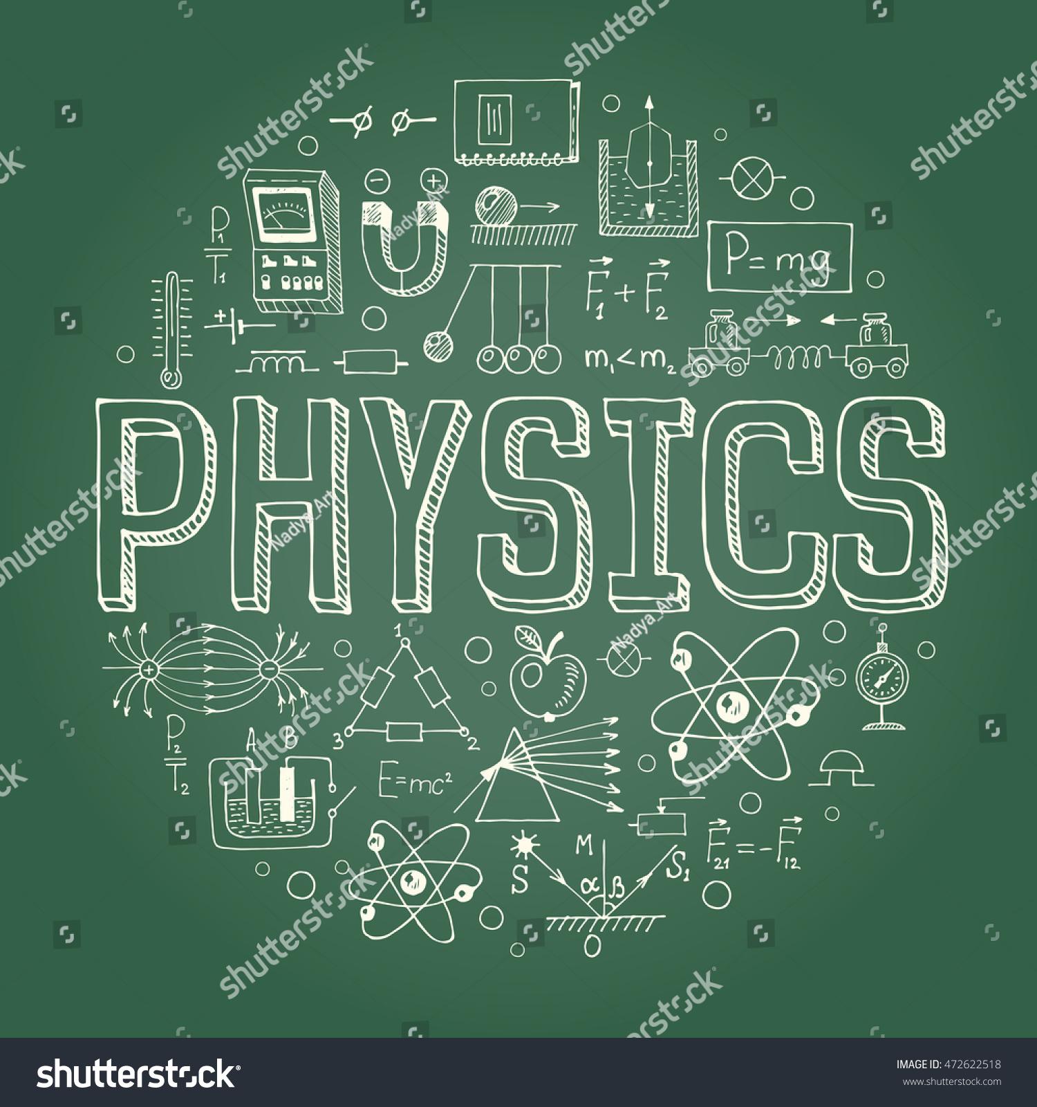 Creative hand drawn vector physics background stock