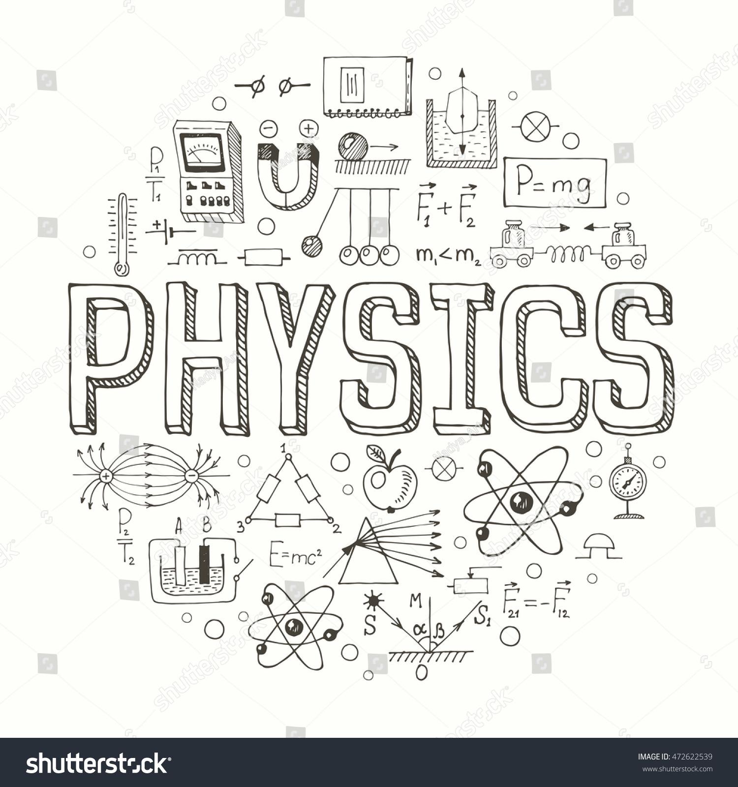 Creative Hand Drawn Vector Physics Background Stock Vector 472622539 Shutterstock