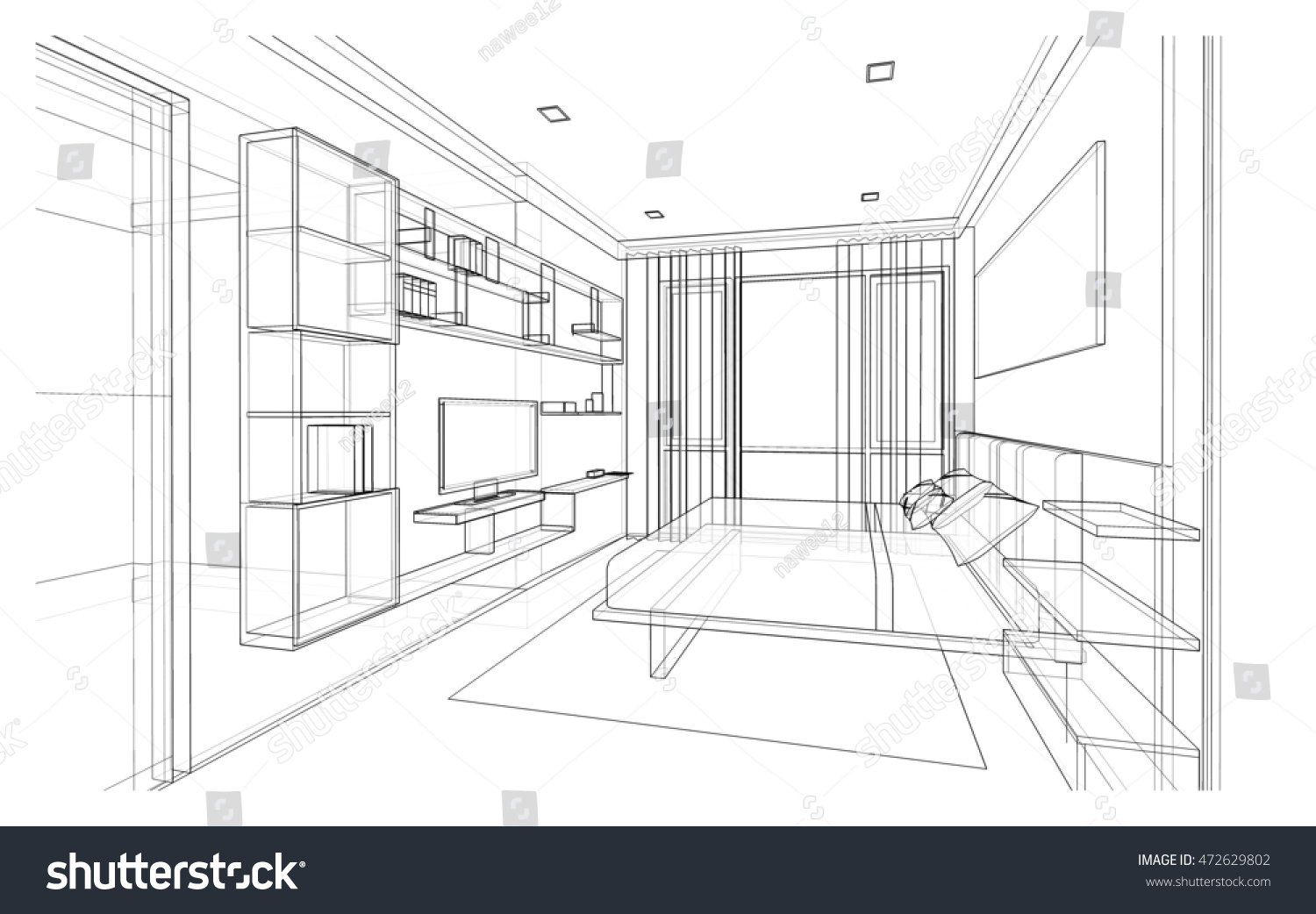 Bedroom drawing perspective - Interior Design Of Modern Style Bedroom 3d Wire Frame Sketch Perspective