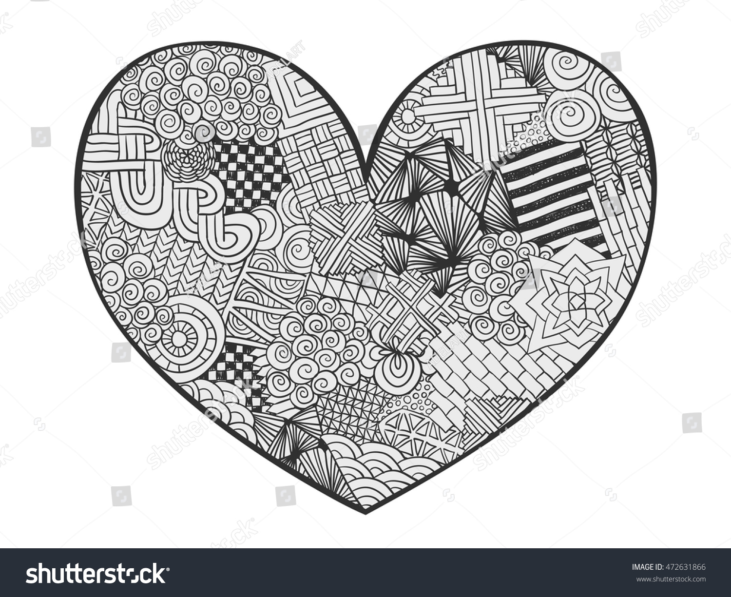 Hand Drawn Monochrome Hearts Zentangle Style Stock Vector (Royalty ... | 1225x1500