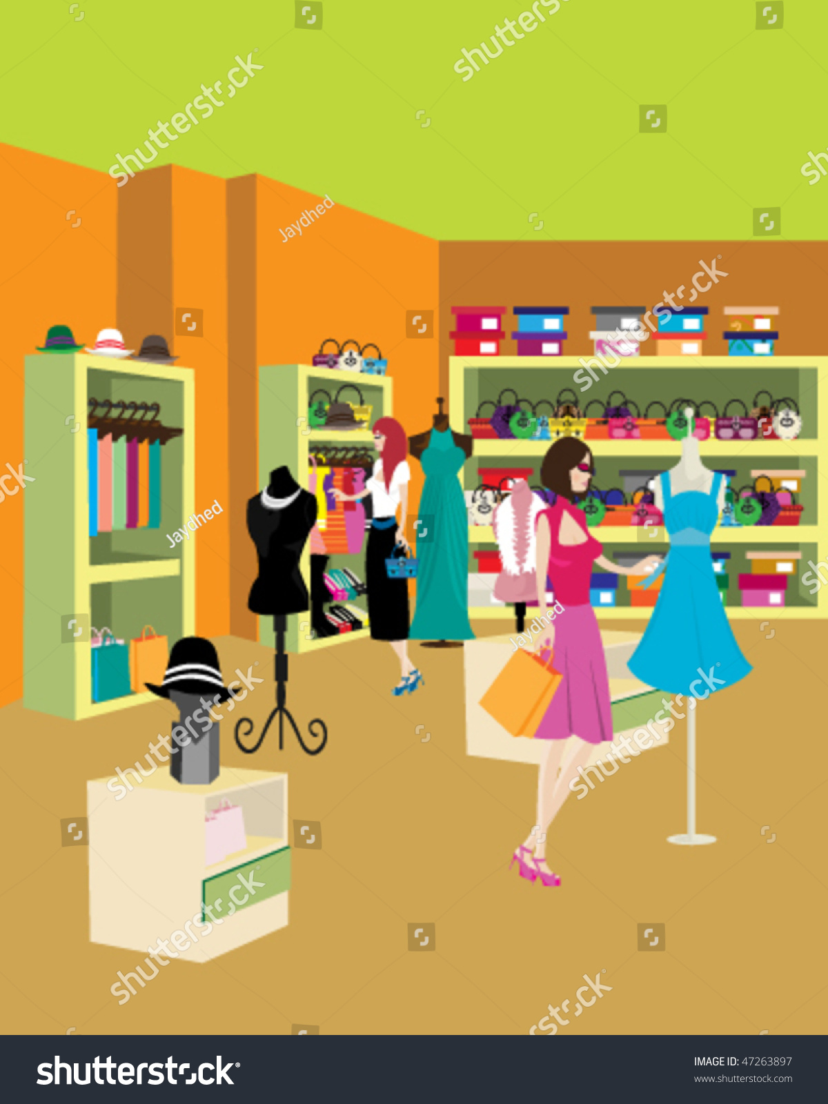 women shopping some clothes big store stock vector