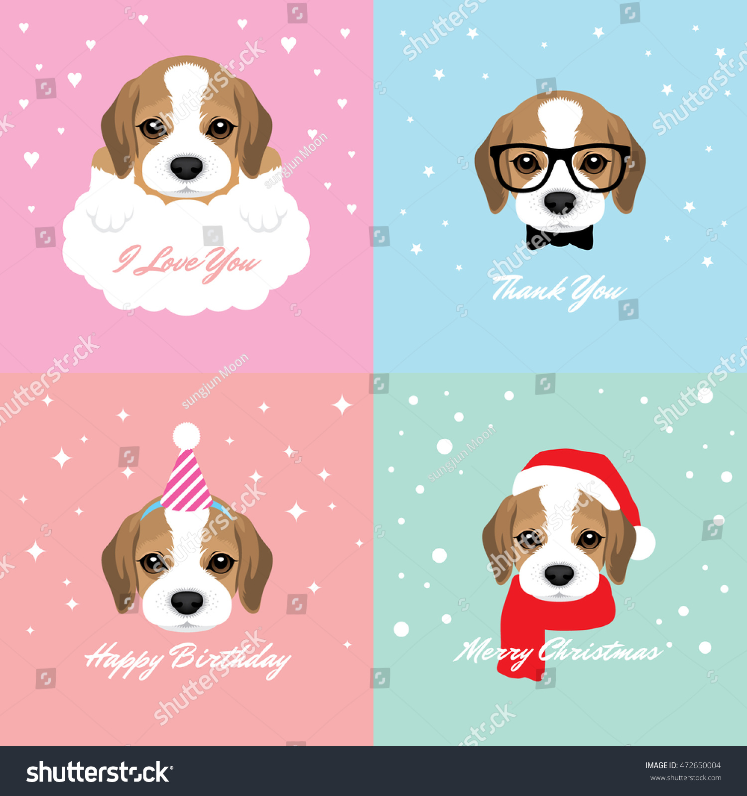 Vector Illustration Portrait Beagle Puppy Dog Stock Vector (Royalty ...