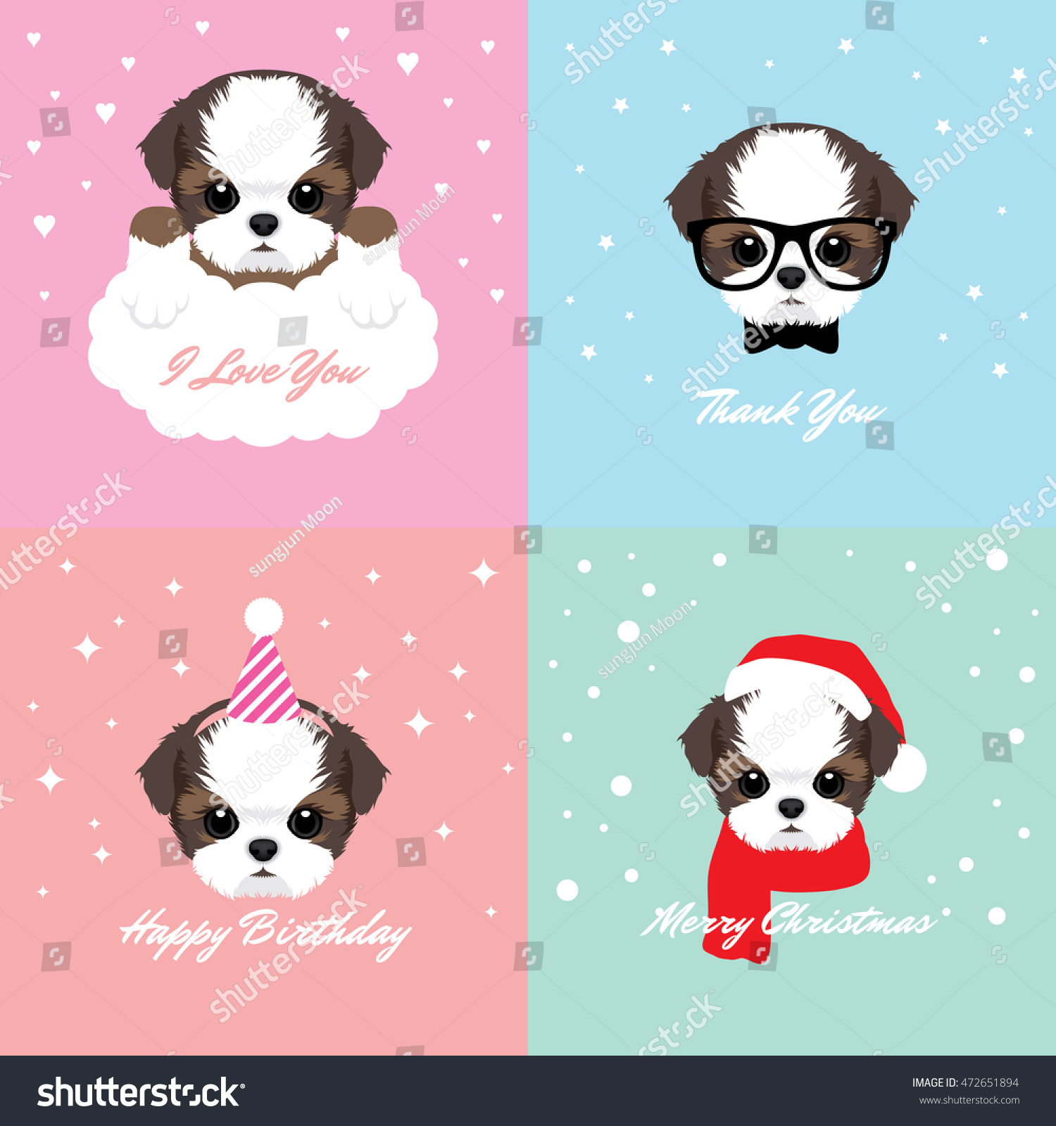 Vector Illustration Portrait Shih Tzu Puppy Stock Vector (Royalty ...