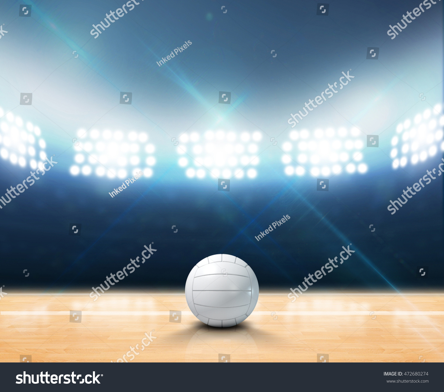 3d Rendering Indoor Volleyball Court Ball Stock Illustration ...