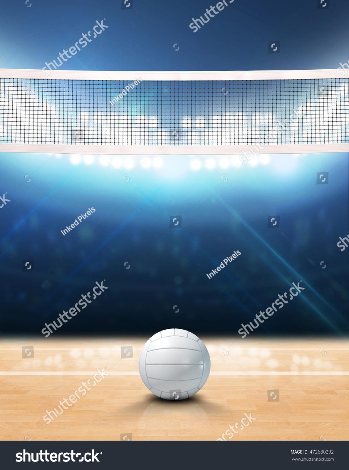 3d Rendering Indoor Volleyball Court Net Stock Illustration ...