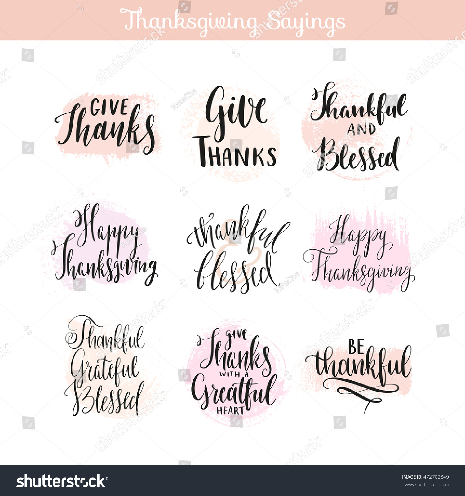 Thanksgiving Day Sayings Quotes Creative Hand Stock Vector (2018 ...