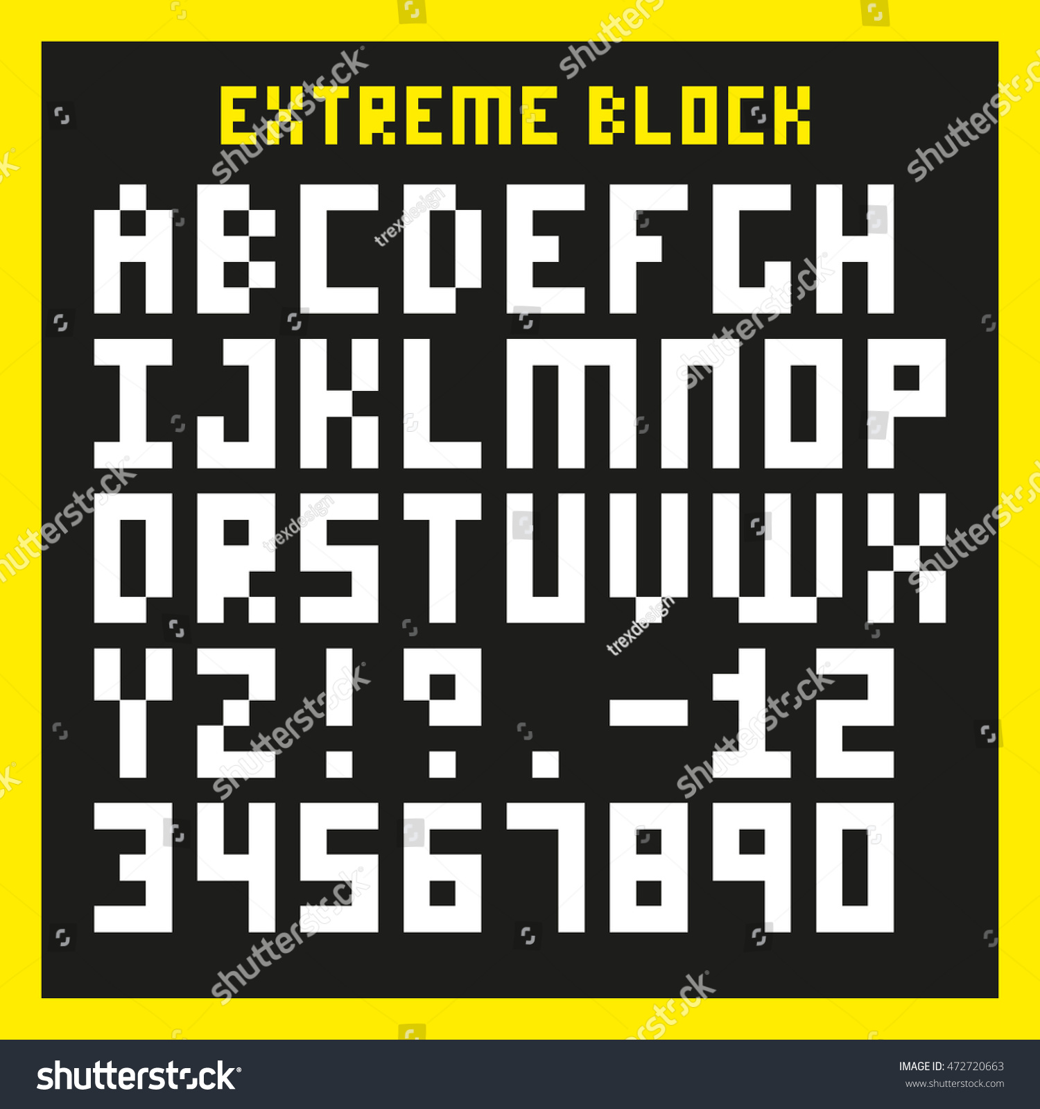 Extreme Block Font Heavily Pixelated Type Stock Vector Hd Royalty