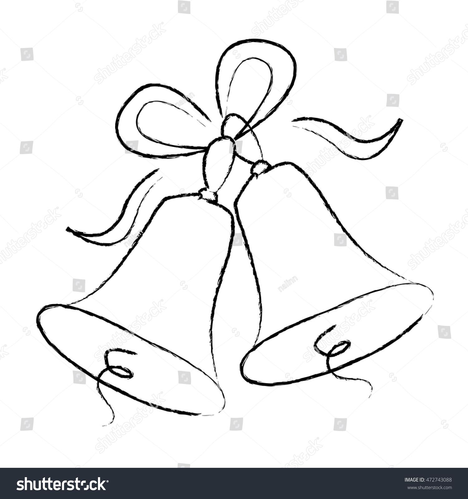 Elegant Wedding Bells: Illustration Elegant Black Color Wedding Bells Stock