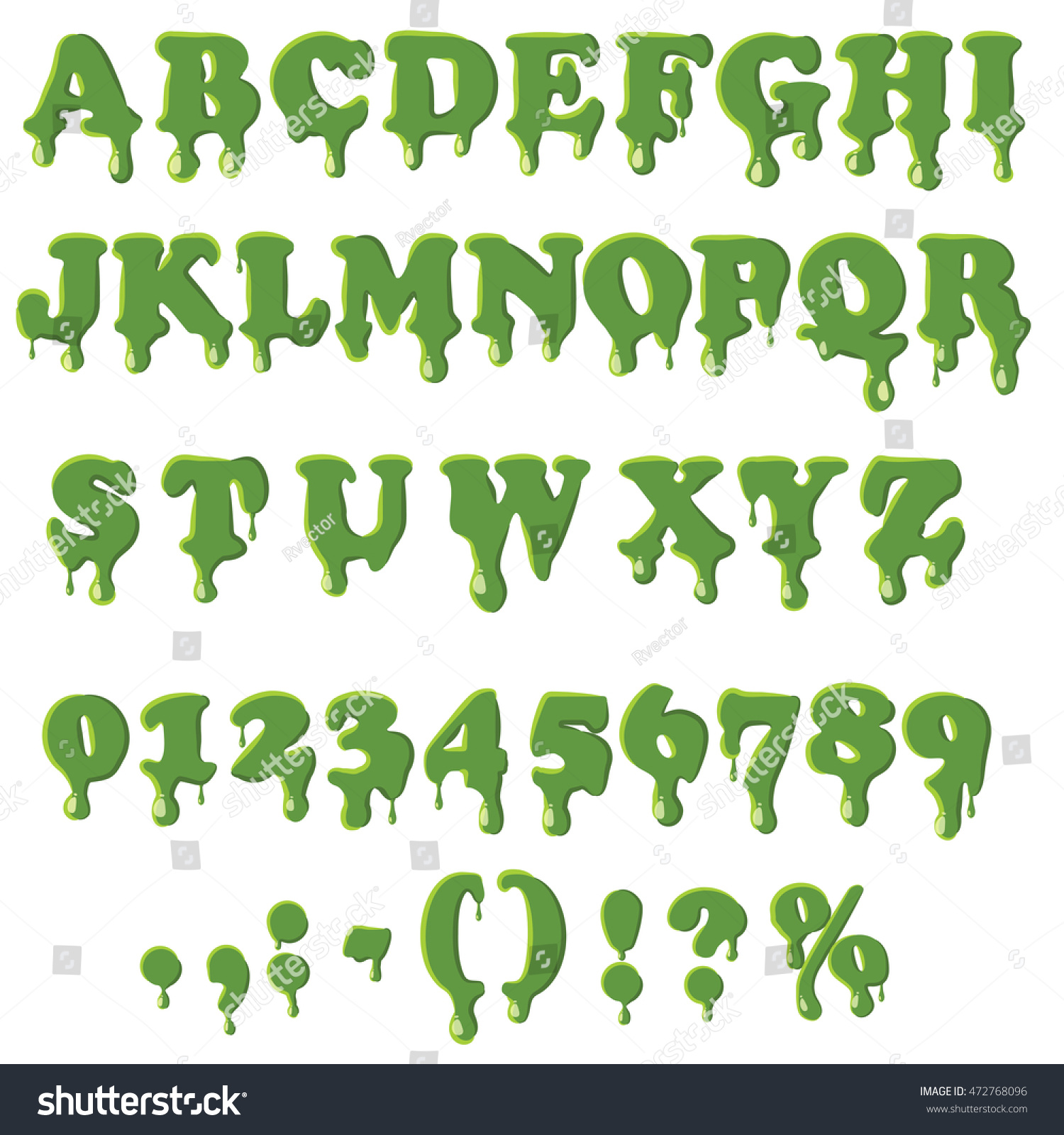 Halloween Slime Font Alphabet Numbers Isolated Stock Vector (Royalty ...