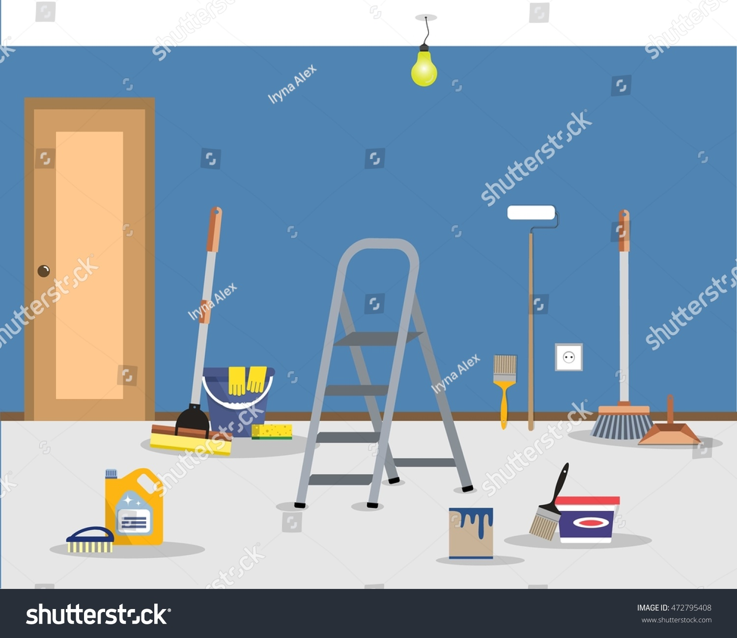 Room Repair Home Cleaning Apartment After Stock Vector