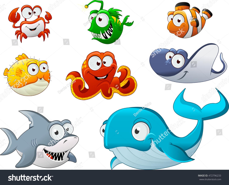 Group Cartoon Underwater Animal Cartoon Fish Stock Vector ...
