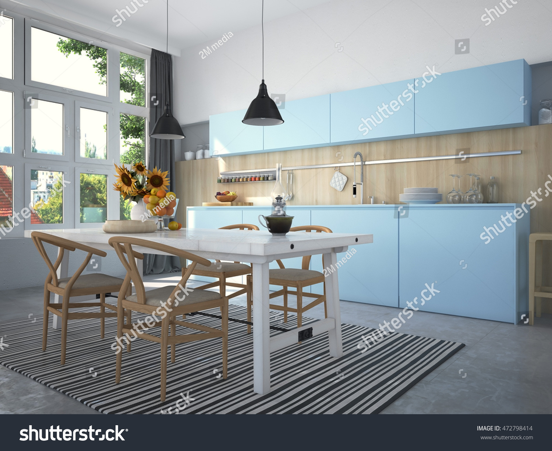 White kitchen room interior. 3d illustration | EZ Canvas