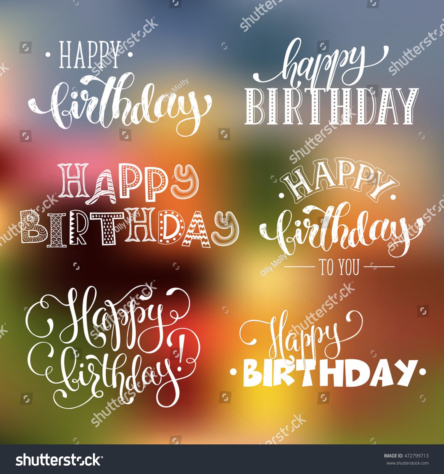 Hand Written Happy Birthday Phrases Greeting Stock Vector Royalty