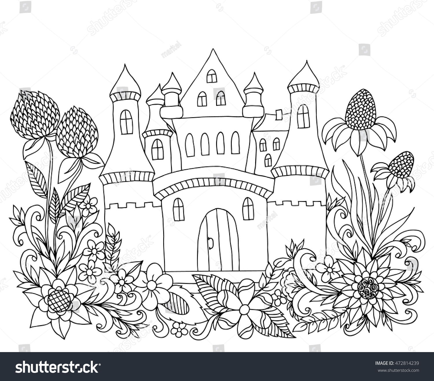 Coloring book landmark for adults - Vector Illustration Zen Tangle Castle Among The Flowers Coloring Book Anti Stress For Adults