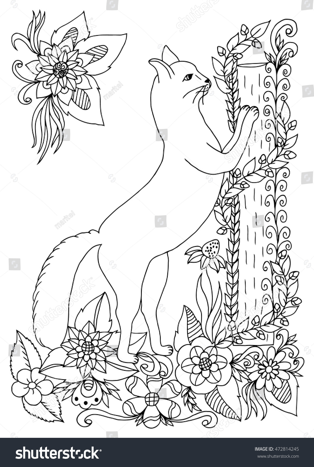 Vector Illustration Zen Tangle Cat Near A Log Among The Flowers Doodling Coloring Book