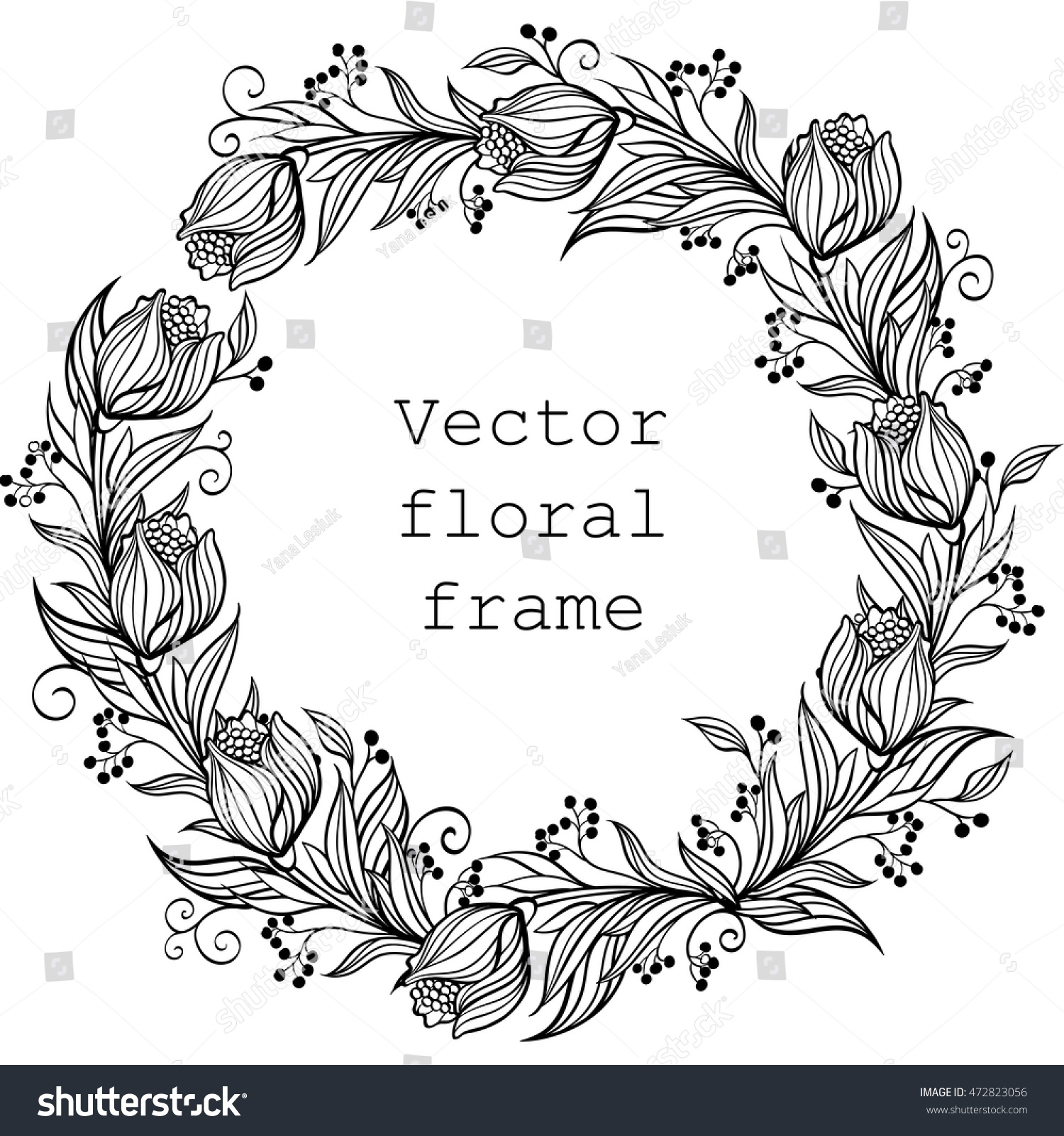 Royalty Free Vector Wreath Floral Frame Round 472823056 Stock