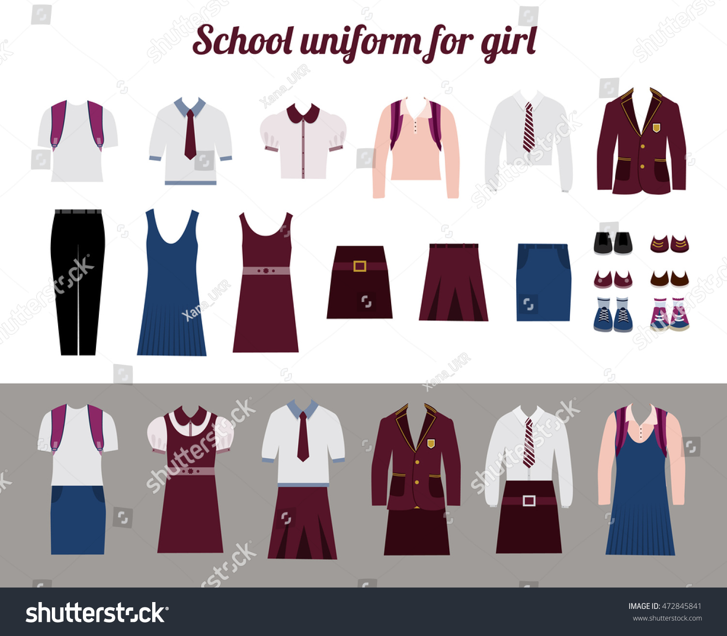 School uniform for girls kit flat vector illustration Set of female school dress code clothes Collared button shirl skirt blazer and shoes