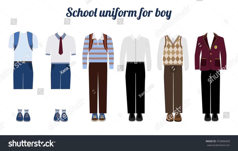 Ilustración vectorial plana de uniforme escolar para niños Juego de ropa de vestir masculina. Camisas con botones, pantalones, chaqueta y botas.