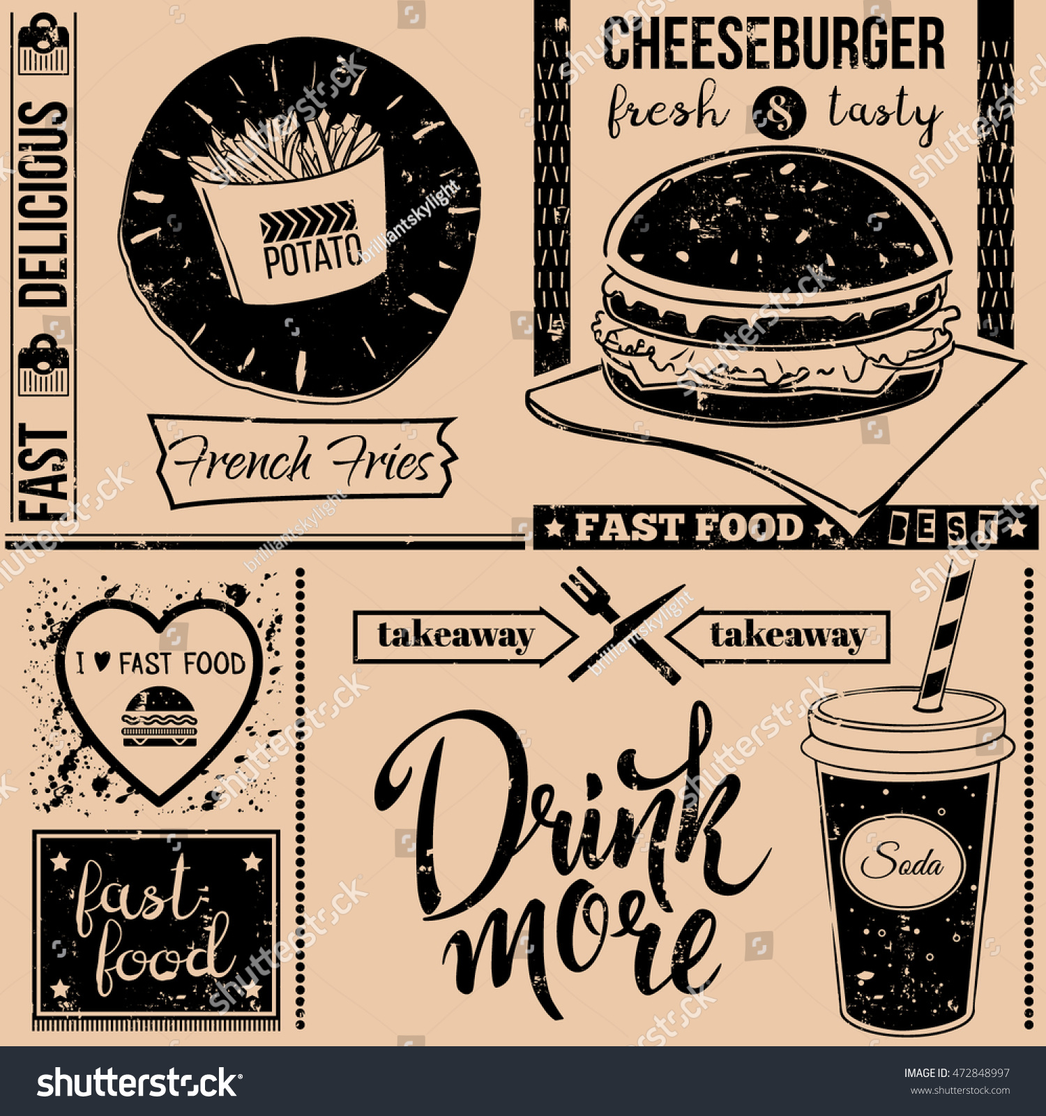 Vector background fast food symbols menu stock vector 472848997 vector background with fast food symbols menu pattern vector illustration with cheeseburger french biocorpaavc Gallery
