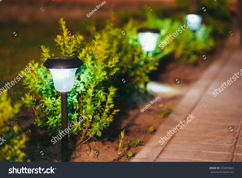 Decorative Small Solar Garden Light Lanterns Stock Photo (Royalty ...