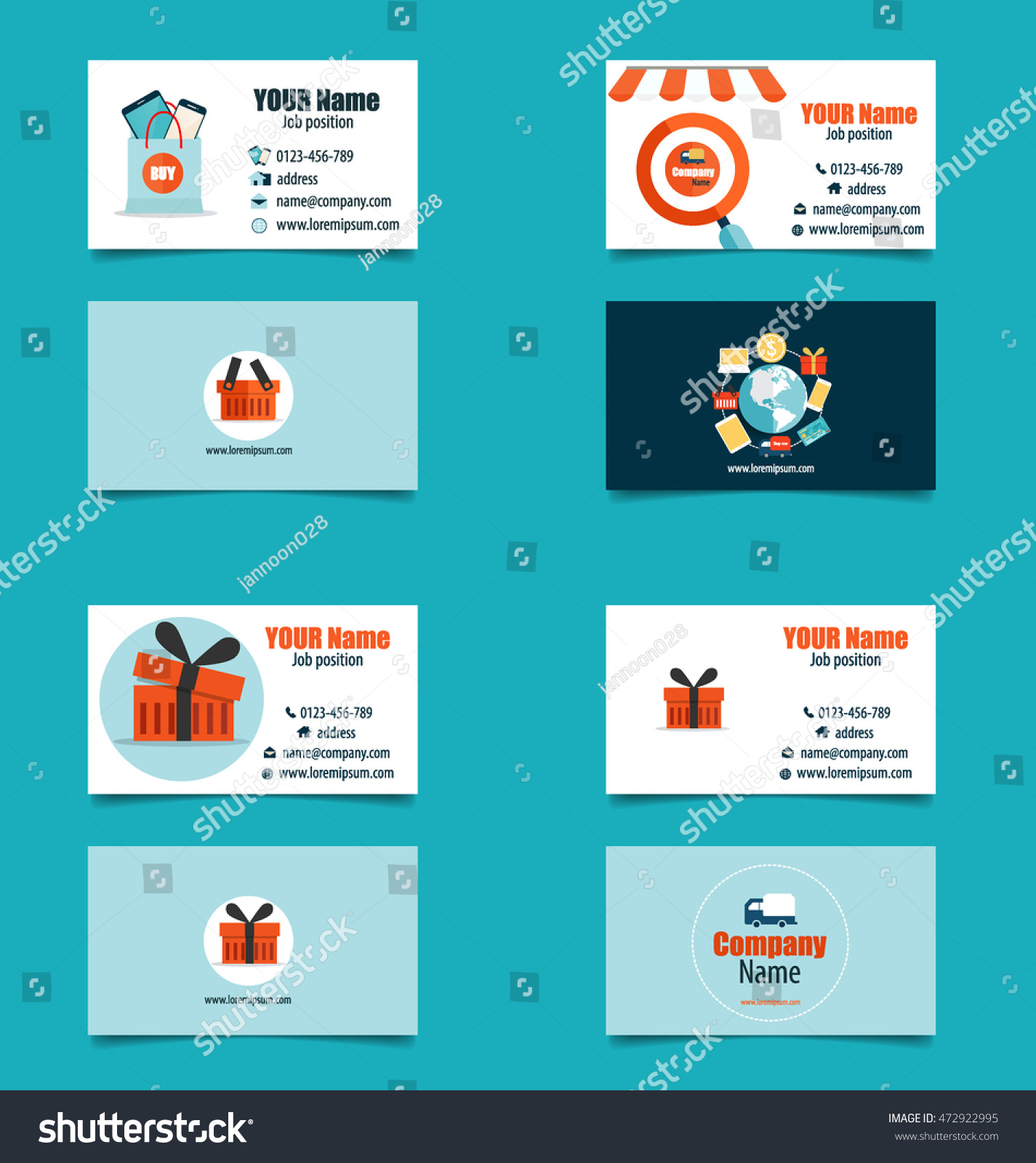 Modern business card template business concept stock vector modern business card template with business concept online shopping infographics background e commerce magicingreecefo Gallery
