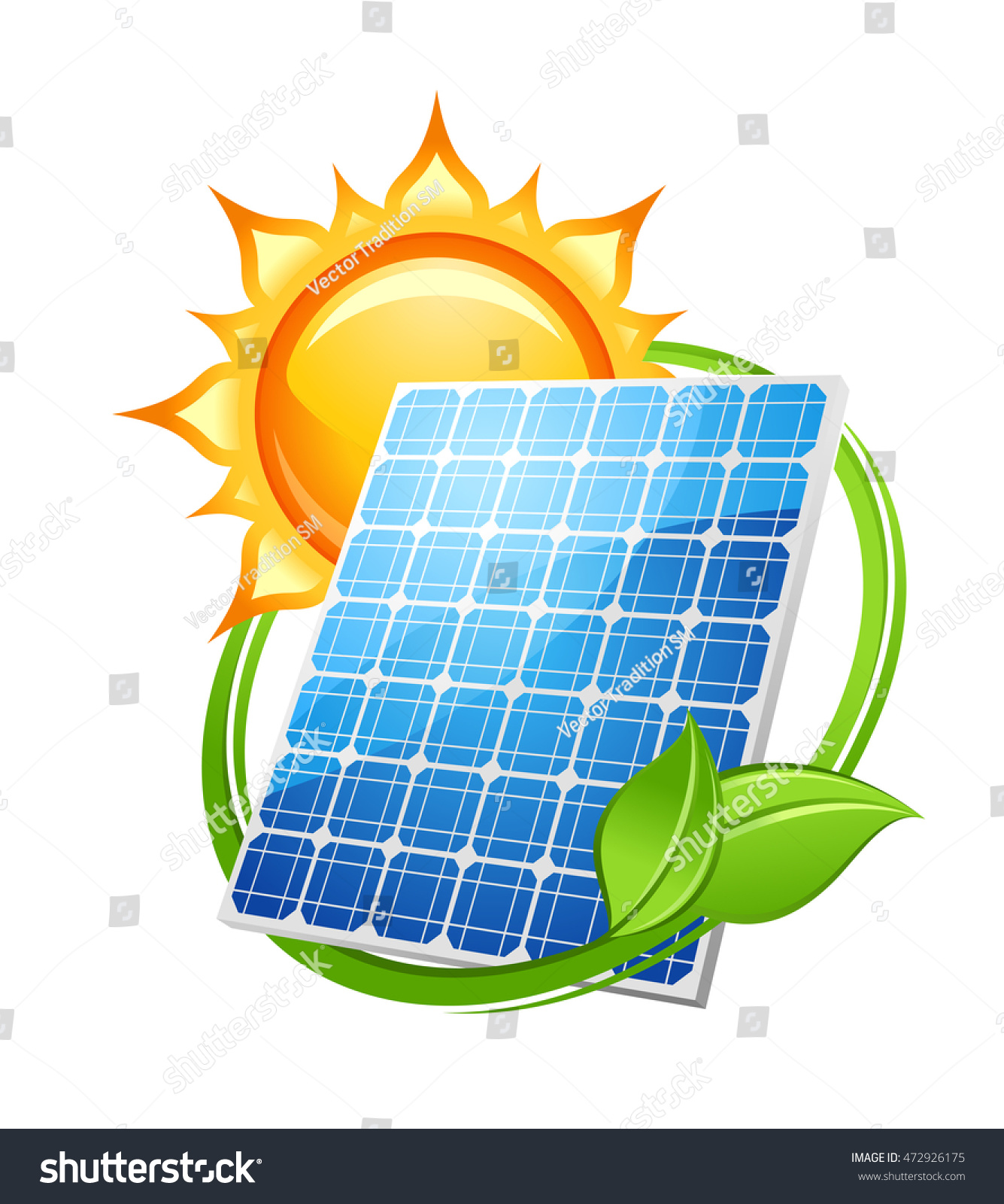 Solar Energy Power Concept Save Environment Stock Illustration ...