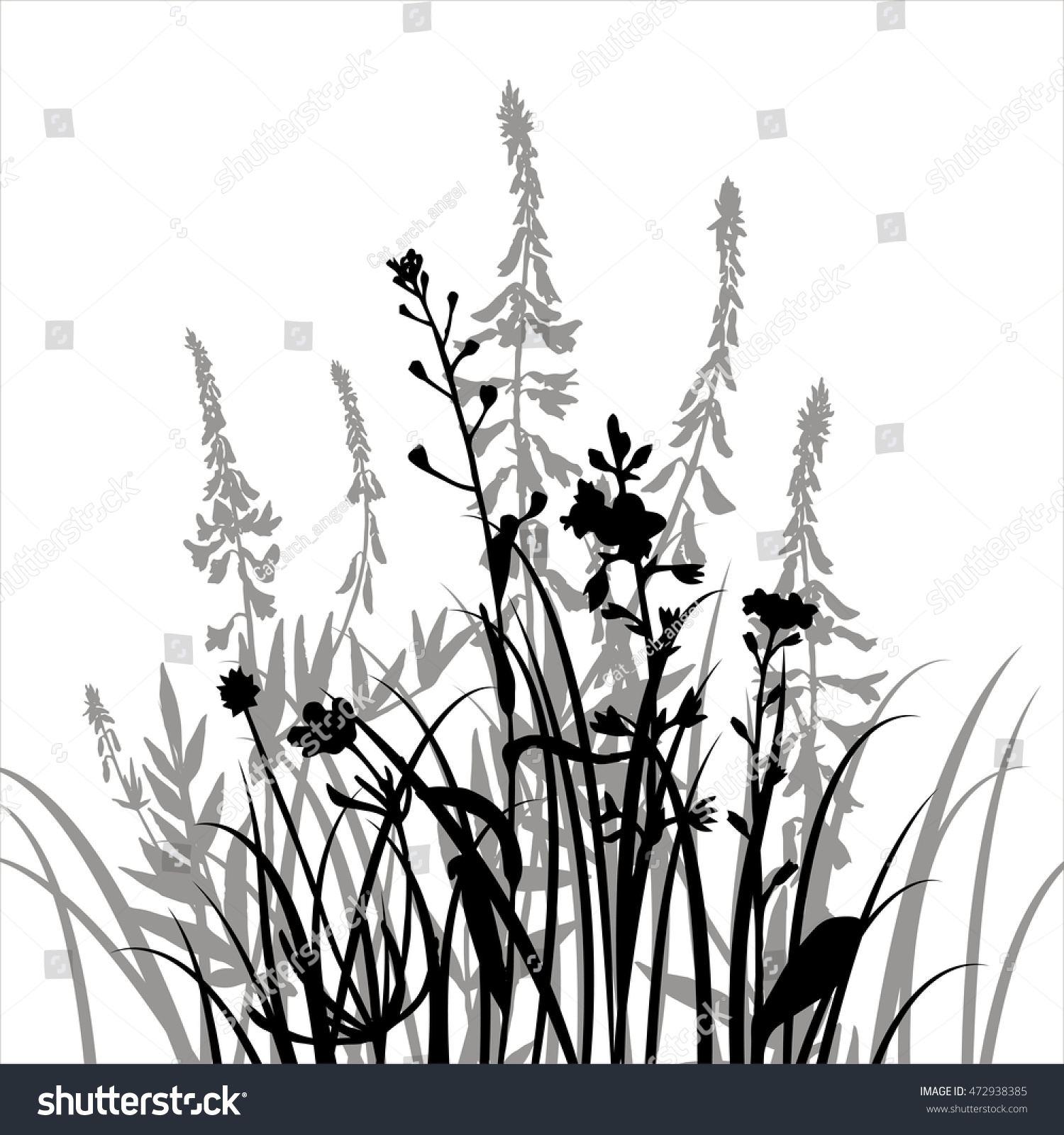 Vector Silhouettes Flowers Grass Background Wild Stock Vector ...
