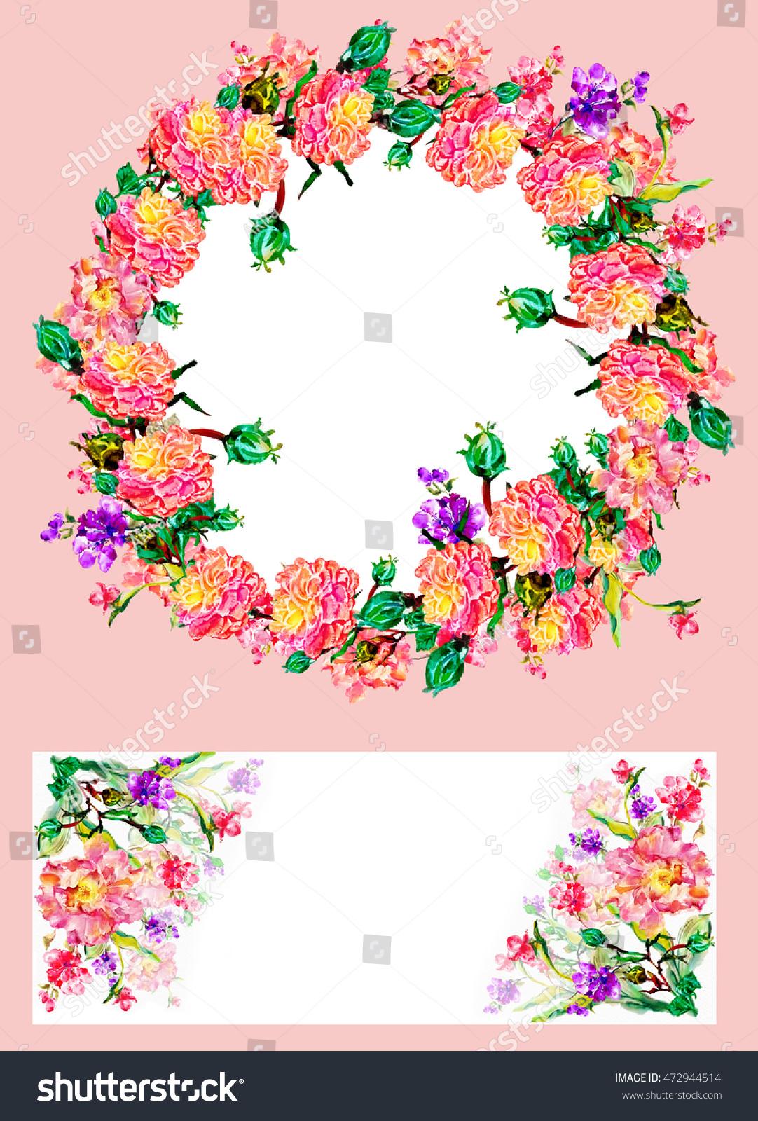 Flower Watercolor Background Floral Illustration Set Stock