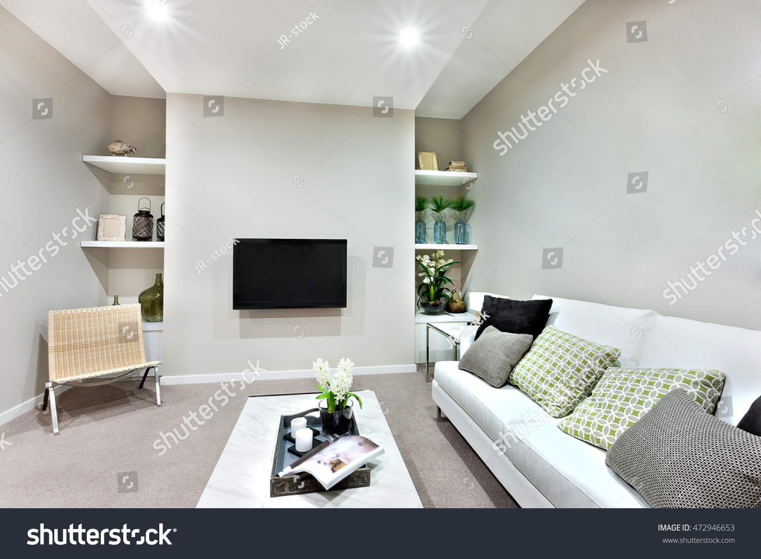 Close View Modern Living Room White Stock Photo & Image (Royalty ...