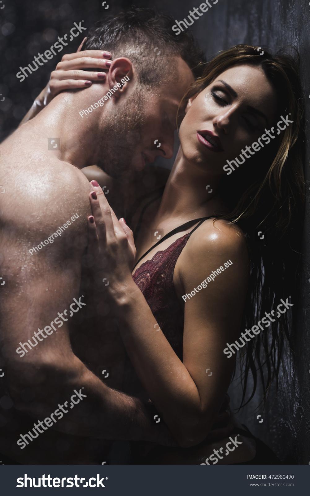 Couple erotic nude shower